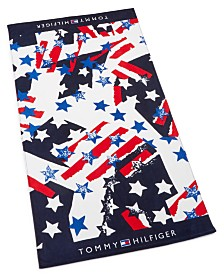 "CLOSEOUT! Tommy Hilfiger Flags And Stars Cotton 35"" x 66"" Beach Towel"
