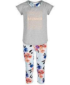 Ideology Big Girls Layered-Look Graphic T-Shirt & Floral-Print Capris, Created for Macy's