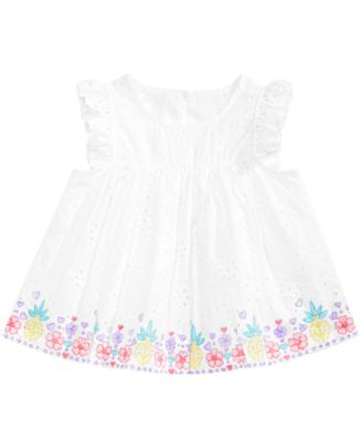 Image of First Impressions Baby Girls Printed Eyelet Lace Top, Created for Macy's