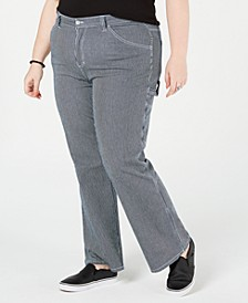 Trendy Plus Size Striped Carpenter Pants