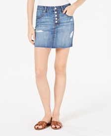 Vanilla Star Juniors' Cotton Button-Fly Denim Mini Skirt