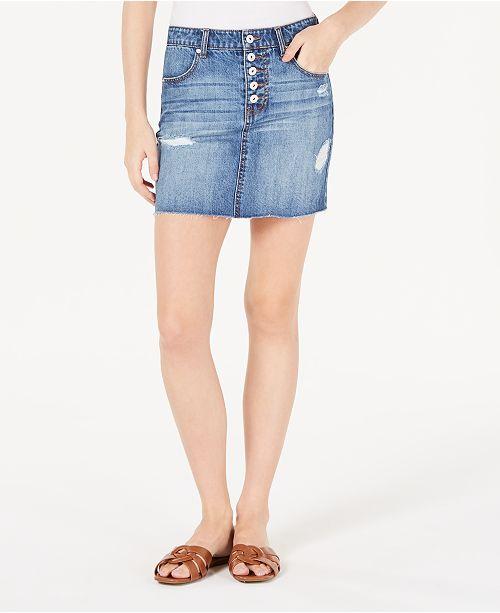 Vanilla Star Juniors' Cotton Button-Fly Denim Mini Skirt