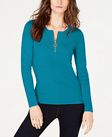 I.N.C. Zip-Front Henley Sweater, Created for Macy's