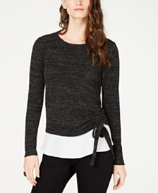 I.N.C. Petite Ruched Layered-Look Top, Created for Macy's