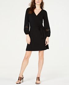 I.N.C. Crochet-Sleeve Wrap Dress, Created for Macy's