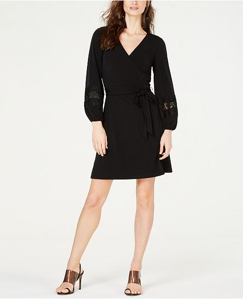 INC International Concepts I.N.C. Crochet-Sleeve Wrap Dress, Created for Macy's