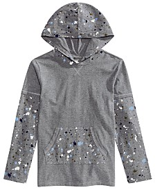 Epic Threads Big Boys Faux-Layer Paint-Splatter Hoodie, Created for Macy's
