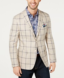 Tallia Men's Slim-Fit Windowpane Blazer