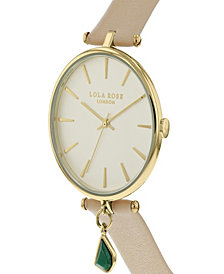 "Lola Rose ""Good Fortune"", Ladies, Nude Leather Strap with Genuine Malachite Stone Hanging Charm, 34MM"