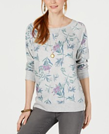 Style & Co Floral-Print Long-Sleeve Top, Created for Macy's