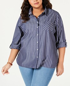 994127b33bf1f Tommy Hilfiger Plus Size Striped Button-Up Shirt