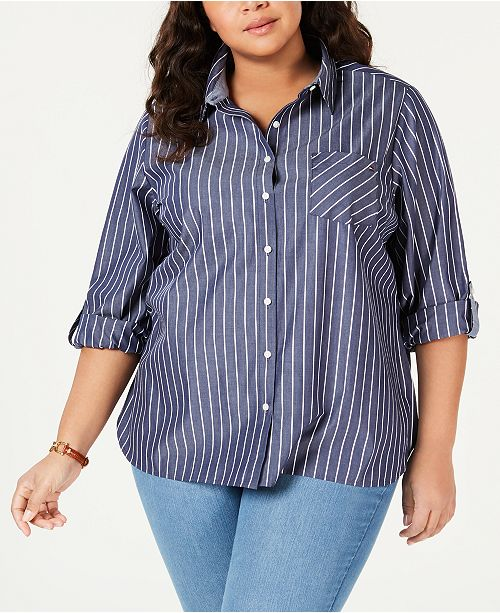 Tommy Hilfiger Plus Size Striped Button-Up Shirt, Created for Macy's