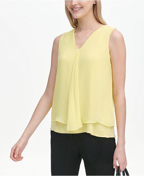 Calvin Klein V-Neck Layered Sleeveless Top
