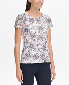 Tommy Hilfiger Dot Floral Printed-Lace Top