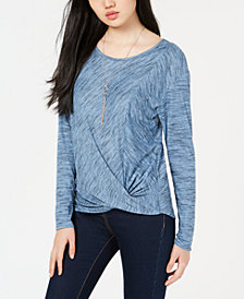 BCX Juniors' Twist-Front Rib-Knit Top with Necklace