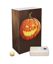 LumaBase Set of 12 Jack Lantern Battery Operated LED Luminaria Kit