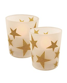 LumaBase Set of 2 Star Glass Battery Operated LED Candles