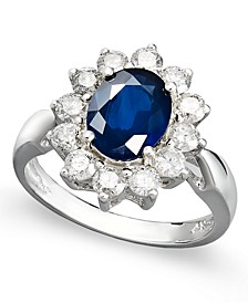 14k White Gold Ring, Sapphire (2-1/5 ct. t.w.) and Diamond (1 ct. t.w.) Oval Ring