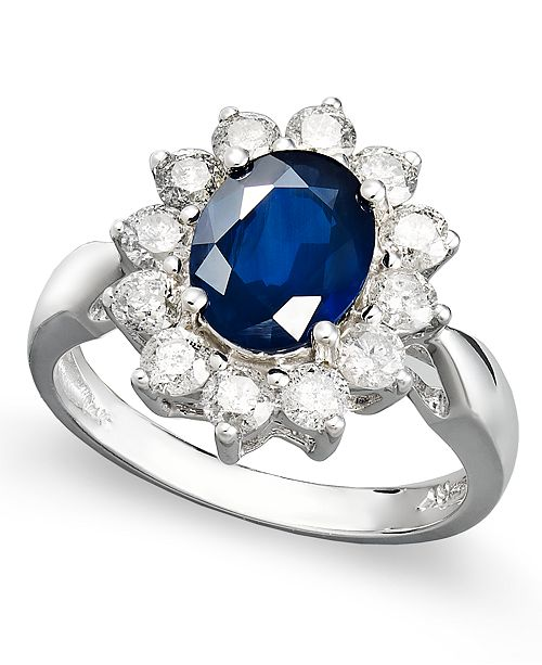 Macy's 14k White Gold Ring, Sapphire (2-1/5 ct. t.w.) and Diamond (1 ct. t.w.) Oval Ring