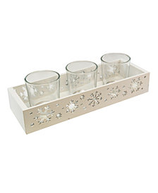 LumaBase Snowflake Candle Tray with 3 Glass Votive Holders