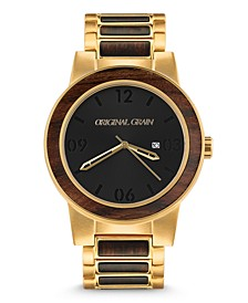 Mens Ebony Wood Barrel Paired With Gold Stainless Steel 47mm Watch