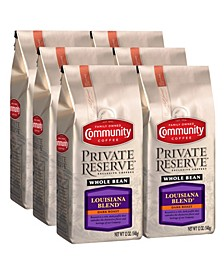 Private Reserve Louisiana Blend Dark Roast Specialty-Grade Whole Bean Coffee, 12 Oz - 6 Pack