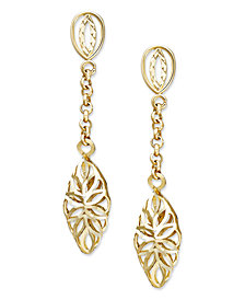 14k Gold Earrings, Diamond Cut Marquise Filigree Drop Earrings, 1 1/3 inch
