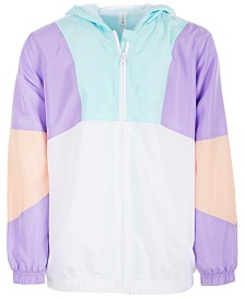 Ideology Big Girls Plus Colorblocked Hooded Windbreaker Jacket, Created for Macy's