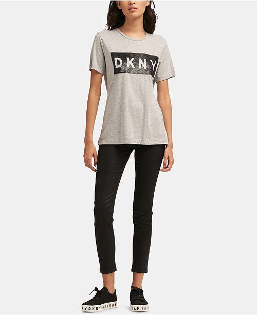 43251459a7ef7 DKNY Reversible-Sequin Logo Crewneck Top   Reviews - Tops - Women ...