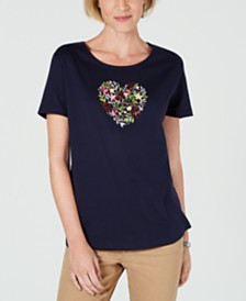6b8642701c632 Karen Scott Floral-Heart Graphic T-Shirt