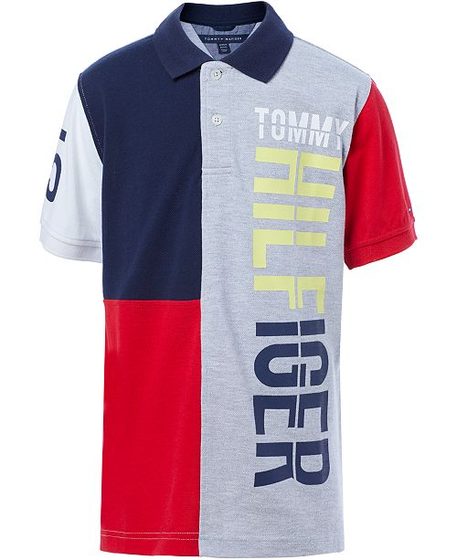 509e6fe4f Tommy Hilfiger Big Boys Logo Pieced Polo & Reviews - Shirts & Tees ...