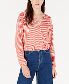 Love Fire Juniors' Strappy Surplice Top