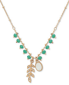 """lonna & lilly Gold-Tone Crystal Leaf & Imitation Mother-of-Pearl Beaded Pendant Necklace, 16"""" + 3"""" extender"""
