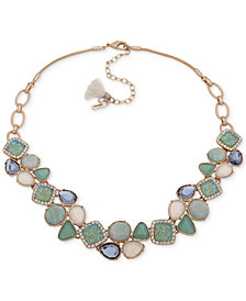 "lonna & lilly Gold-Tone Pavé & Stone Collar Necklace, 16"" + 3"" extender"