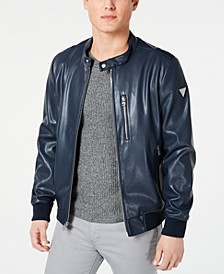 Men's Faux-Leather Bomber Jacket