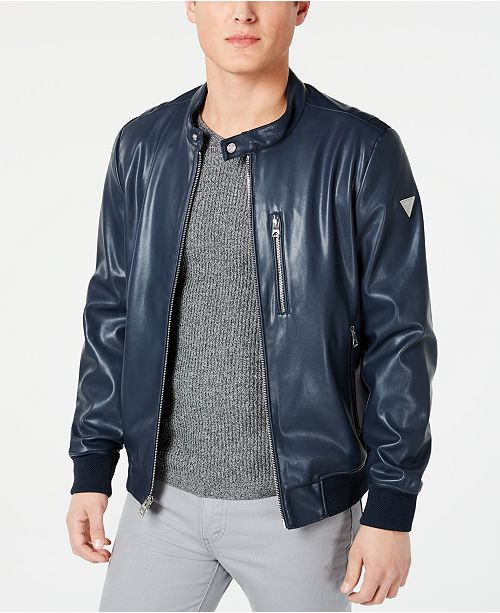 GUESS Men's Faux-Leather Bomber Jacket