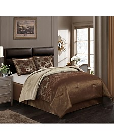 Evan 4-Piece Comforter Set, Brown, King