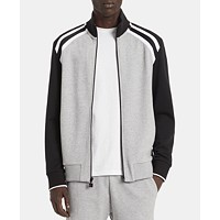 Calvin Klein Men's Colorblocked Track Jacket (Heroic Grey Heather / Flame Orange)