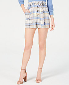 J.O.A. Plaid Paper Bag Shorts