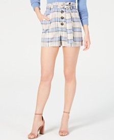J.O.A. Plaid Paper Bag Shorts