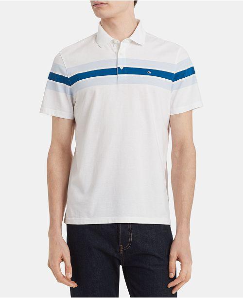 ecfaa9356 ... Calvin Klein Men s Slim-Fit Chest Stripe Liquid Touch Polo Shirt ...