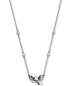 "Lucky Brand Silver-Tone Imitation Pearl & Bird Pendant Necklace, 17"" +2"" extender"
