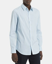 Calvin Klein Men's Big & Tall Slim-Fit Stretch End-On-End Stripe Shirt