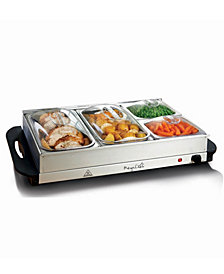 MegaChef Buffet Server; Food Warmer With 4 Removable Sectional Trays , Heated Warming Tray and Removable Tray Frame