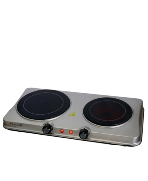 MegaChef Electric Easily Portable Heavy Duty Lightweight Dual Size Infrared Burner Cooktop Buffet Range in Sleek Steel