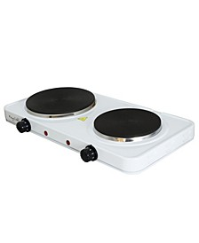 Electric Easily Portable Ultra Lightweight Dual Burner Cooktop Buffet Range in Sleek White
