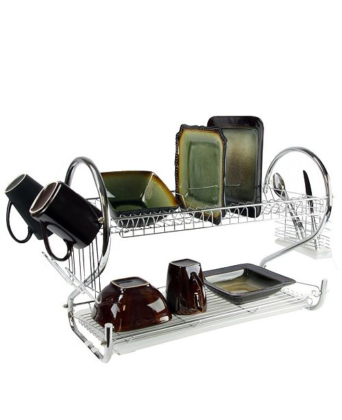 "MegaChef 22"" Two Shelf Dish Rack"