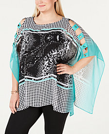 JM Collection Plus Size Ladder-Sleeve Poncho, Created for Macy's