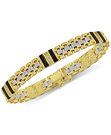 Men's Onyx (9X 2.5mm) and Diamond (1/2 ct. t.w.) Bracelet in 10k Yellow & White Gold