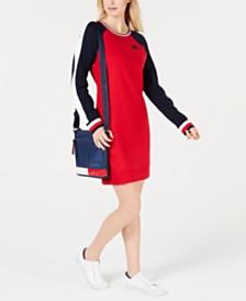 Tommy Hilfiger Colorblocked Raglan-Sleeve Shift Dress